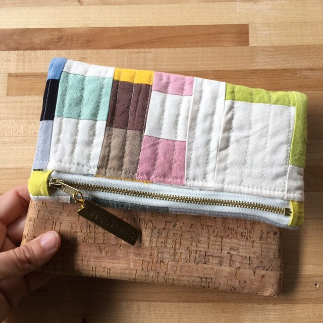 Fold Over Clutch Purse, Quilted Zipper Pouch, Art Supply Satchel, Hand Made from Organic Cotton #028