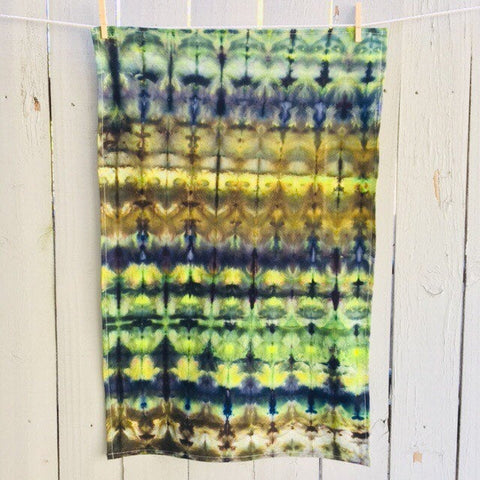 Cotton Flour Sack Towel, Hand-Made Housewarming Gifts, Ice-Dyed Tea Towel #025