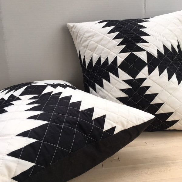 Quilted Throw Pillow, Organic Cotton Black and White Pineapple Quilt Block Pillow Cover