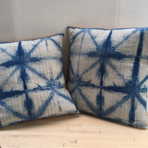 Quilted Throw Pillow, Handmade Cushion, Indigo Shibori Dyed Linen Pillow Cover
