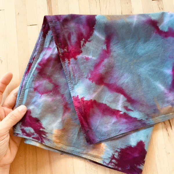 Ice Dyed Hank, EDC Hankerchief, Ice-Dyed Cotton Bandana, Every Day Carry Hank #15