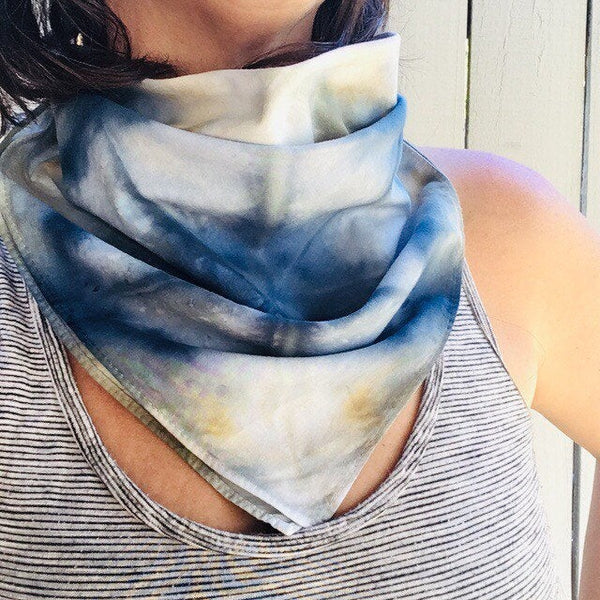 Ice Dyed Hank, EDC Hankerchief, Ice-Dyed Cotton Bandana, Every Day Carry Hank #02