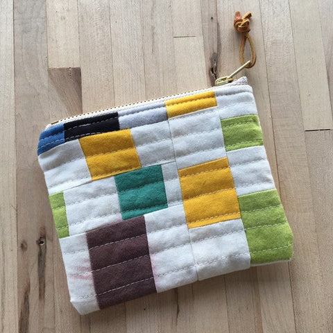 Coin Purse, Quilted Zipper Pouch, Hand Made from Organic Cotton #010
