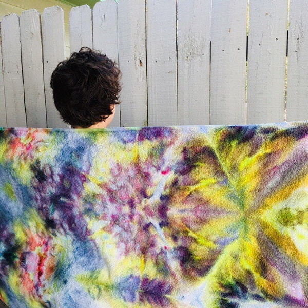 Ice Dyed Cotton Beach Towel, Tie Dyed Swim Towel, Bath Towel #007