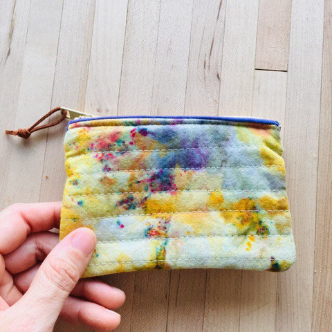 Coin Purse, Quilted Zipper Pouch, Hand Made from Organic Cotton