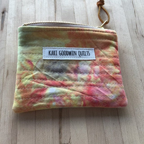 Coin Purse, Quilted Zipper Pouch, Hand Made from Organic Cotton #008