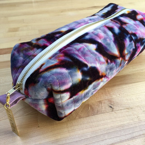 Pencil Pouch, Quilted Zipper Pouch, Hand Made from Organic Cotton #013
