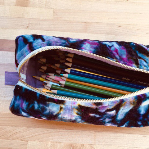 Pencil Pouch, Quilted Zipper Pouch, Hand Made from Organic Cotton #016