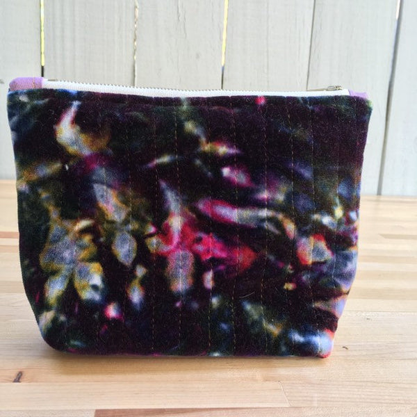 Pencil Pouch, Quilted Zipper Pouch, Hand Made from Organic Cotton #019