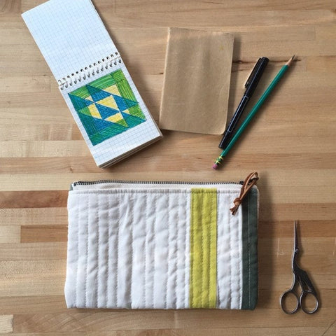 Small Clutch Purse, Quilted Zipper Pouch, Hand Made from Organic Cotton #023