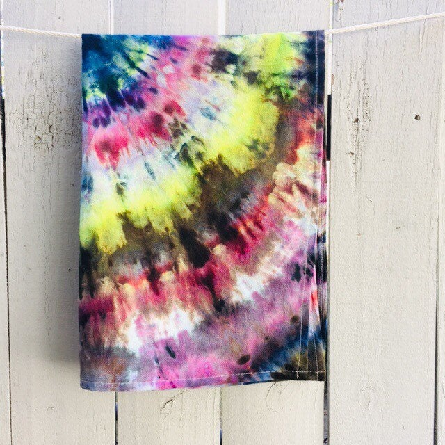Cotton Flour Sack Towel, Hand-Made Housewarming Gifts, Ice-Dyed Tea Towel #026