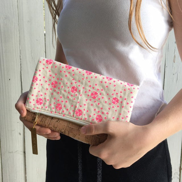 Fold Over Clutch Purse, Quilted Zipper Pouch, Art Supply Satchel, Hand Made from Organic Cotton #029