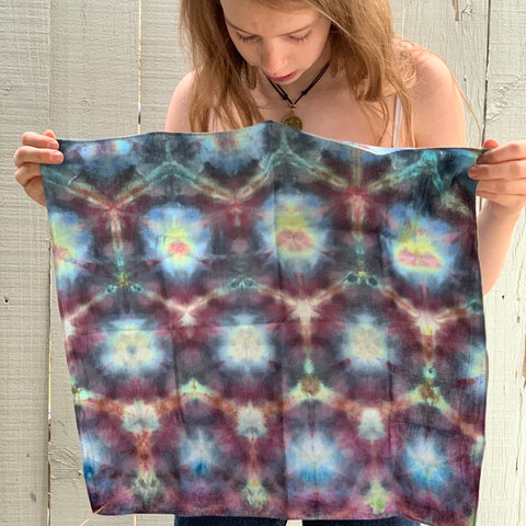 Ice Dyed Hank, EDC Hankerchief, Ice-Dyed Cotton Bandana, Every Day Carry Hank #022