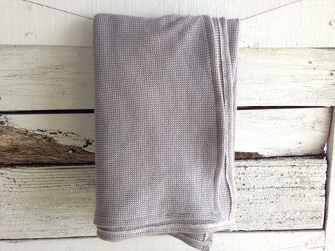 Hand-Dyed Organic Thermal Cotton Blanket - Steel Grey