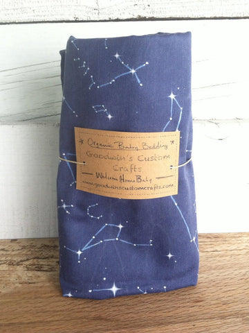 Organic Cotton Nursery Bedding - Navy Constellation Map