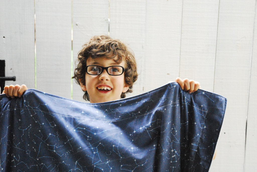 Organic Cotton and Fleece Blanket - Navy Constellation Map