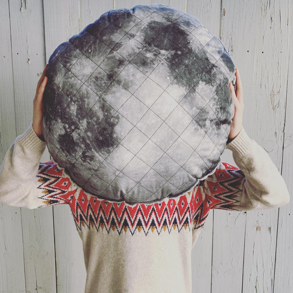 Large Organic Cotton and Linen Moon Pillow