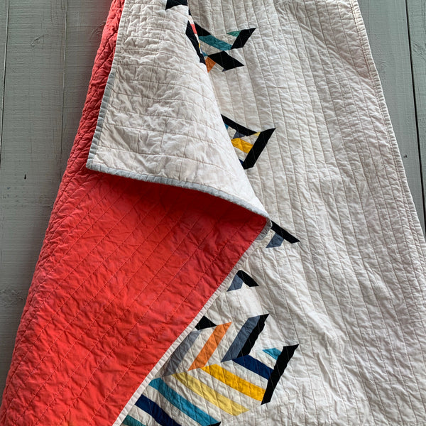 Hand-Dyed Organic Cotton Fiber Art Quilt - RAINBOW CHEVRON