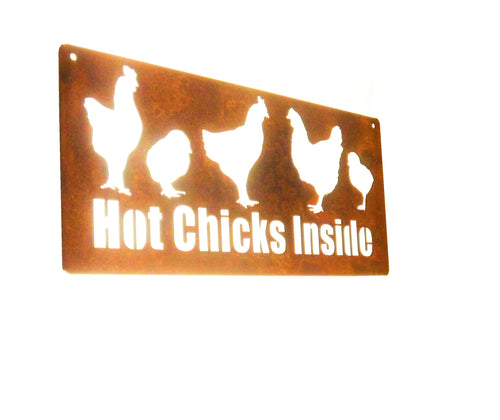 Rustic Metal Chicken Coop Sign -- HOT CHICKS INSIDE!