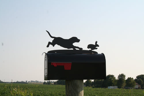 Beagle Chasing Rabbit Mailbox Topper