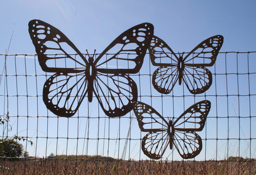Rustic Metal Monarch Butterflies Wall Decor -- Set of 3 Mixed Sizes