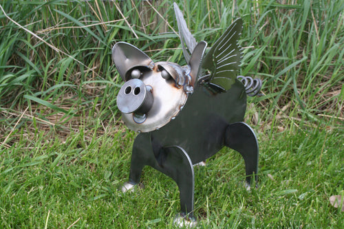 Metal Flying Pig Statue