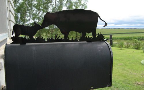 Cow and Calf Metal Mailbox Topper