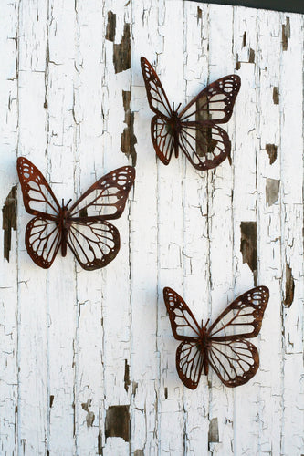 Giant Rustic Metal Monarch Butterflies Wall Decor -- Set of 3