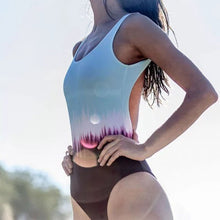 Color fade one-piece swimsuit