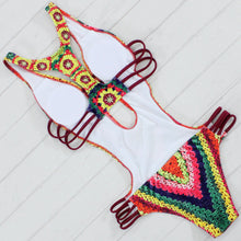 Rainbow crochet print one-piece swimsuit