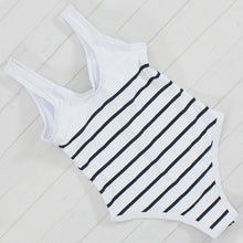 Striped front zip one-piece