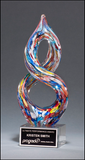 Helix-Shaped Multi-Color Art Glass Award