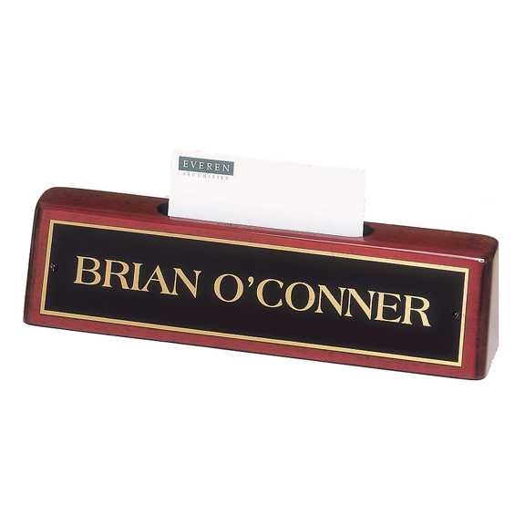 Rosewood Piano Finish Name Plate w/ Business Card Holder