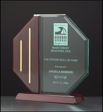 Octagon Acrylic Award w/ Rosewood Piano Finish Base  - A6580 Series