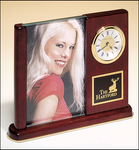 Rosewood Piano Finish Photo Desk Clock