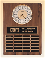 American Walnut Vertical Wall Clock w/ Perpetual Plaque