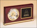 Rosewood Piano Finish Desk Clock w/ Brass Base