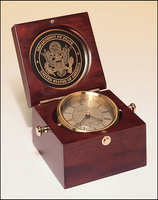 Captain's Clock Hand Rubbed Rich Mahogany Finish Case