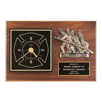 Fireman Award Clock w/ Antique Bronze Finish Casting