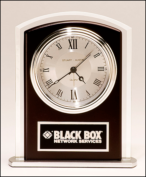Beveled Glass Clock with Wood Accent
