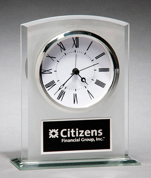 Glass Clock with Frosted Front and Polished Accents