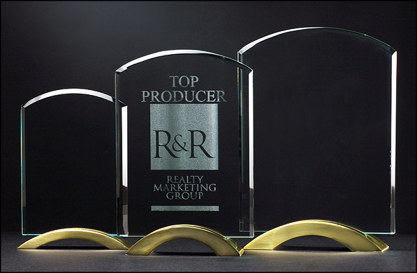 Arch Series Glass Award w/ Gold Metal Base  - G2250 Series