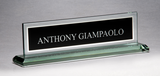 Glass Nameplate with Black Silk Screened Engraving Area