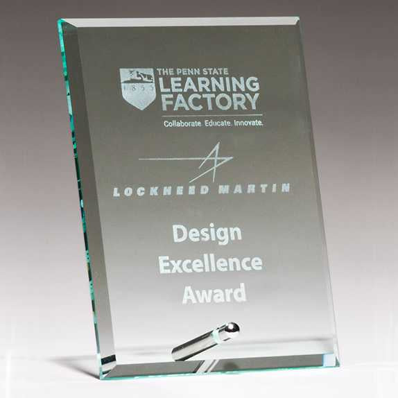 Clear Glass Award w/ Silver Plated Post - G2822 Series
