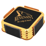 Laser Engraved Square Coaster Sets with Silver or Gold Edge