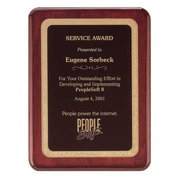 Rosewood Piano Finish Plaque with Brass Plate - P3741 Series