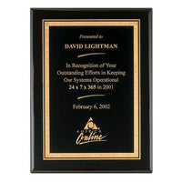 Black Piano Finish Plaque with Brass Plate - P3816 Series