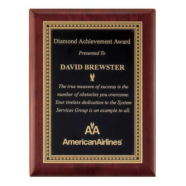 Rosewood Piano Finish Plaque with Brass Plate - P3901 Series