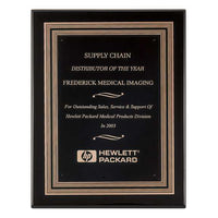 Black Piano Finish Plaque with Gold and Black Embossed Frame