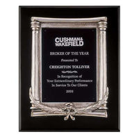 Black Piano Finish Plaque with Antique Silver Frame Casting